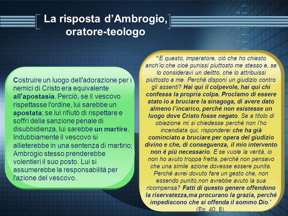 La risposta d'Ambrogio, oratore-teologo
