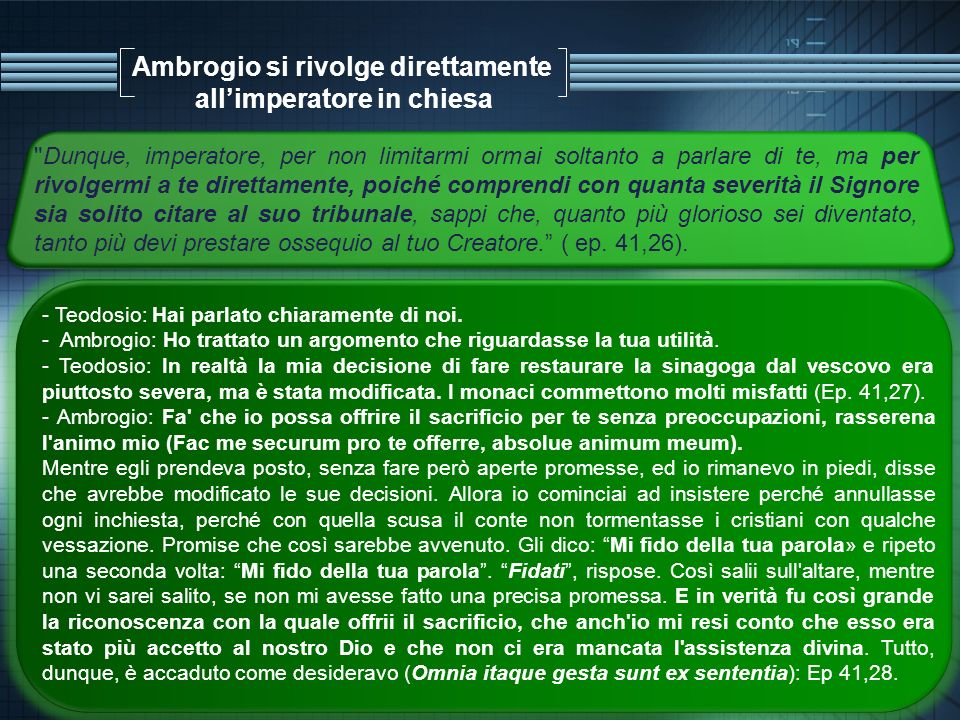 Ambrogio si rivolge direttamente all'imperatore in chiesa