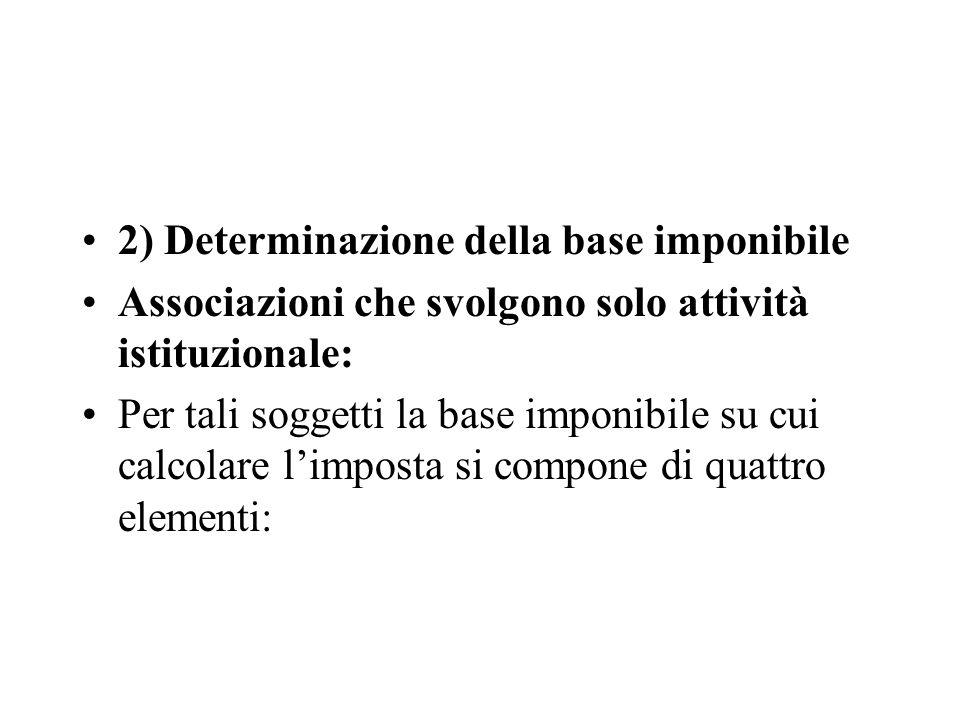 2) Determinazione della base imponibile