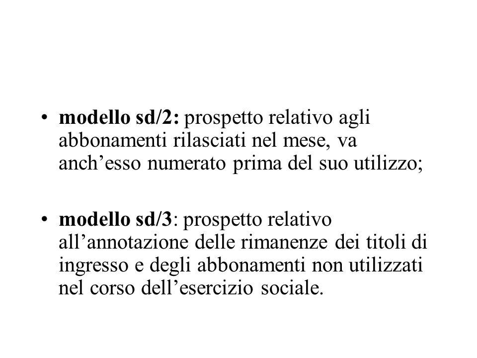 modello sd/2: prospetto relativo agli abbonamenti rilasciati nel mese, va anch'esso numerato prima del suo utilizzo;