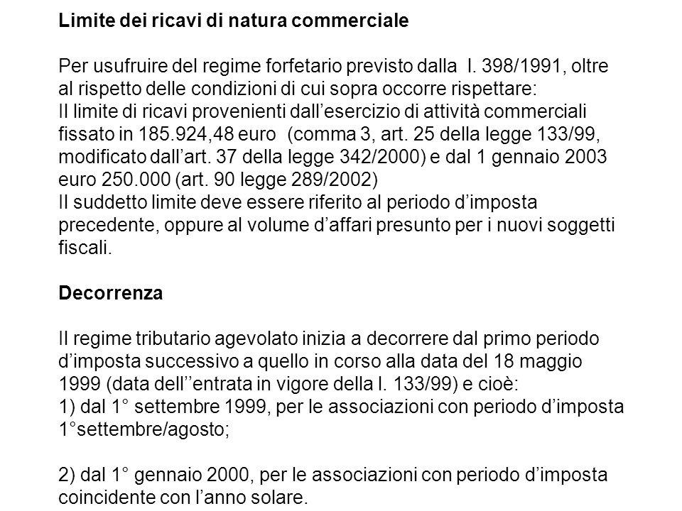 Limite dei ricavi di natura commerciale Per usufruire del regime forfetario previsto dalla l.