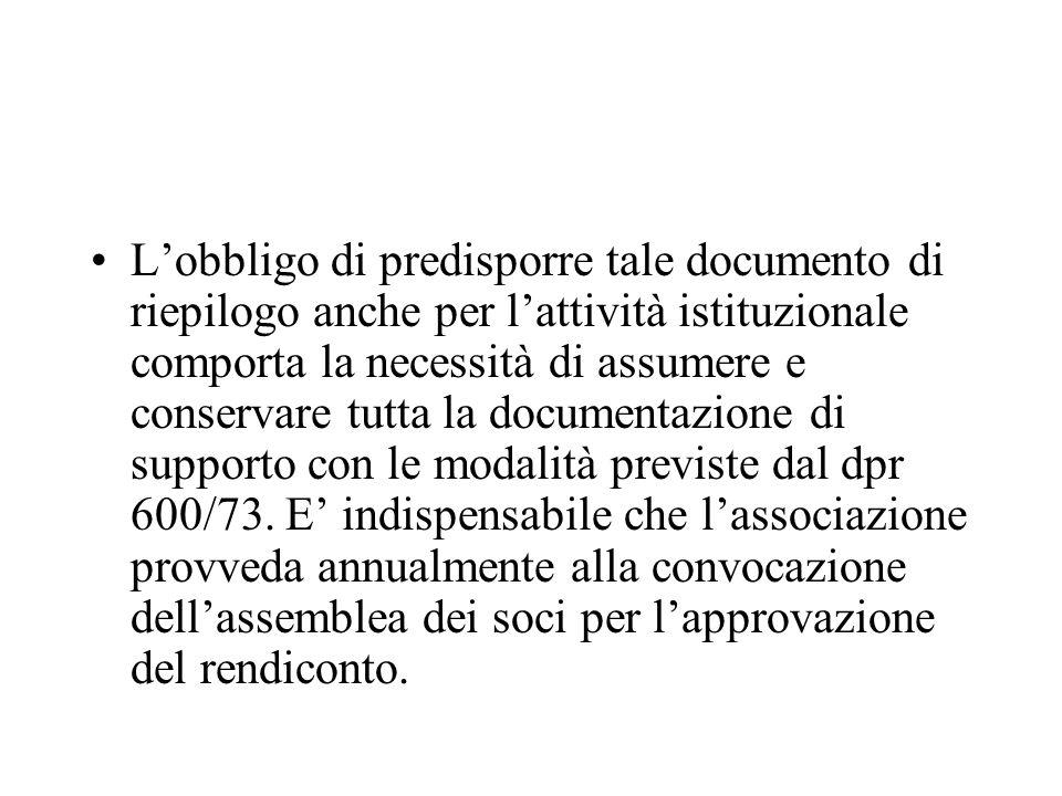 L'obbligo di predisporre tale documento di riepilogo anche per l'attività istituzionale comporta la necessità di assumere e conservare tutta la documentazione di supporto con le modalità previste dal dpr 600/73.