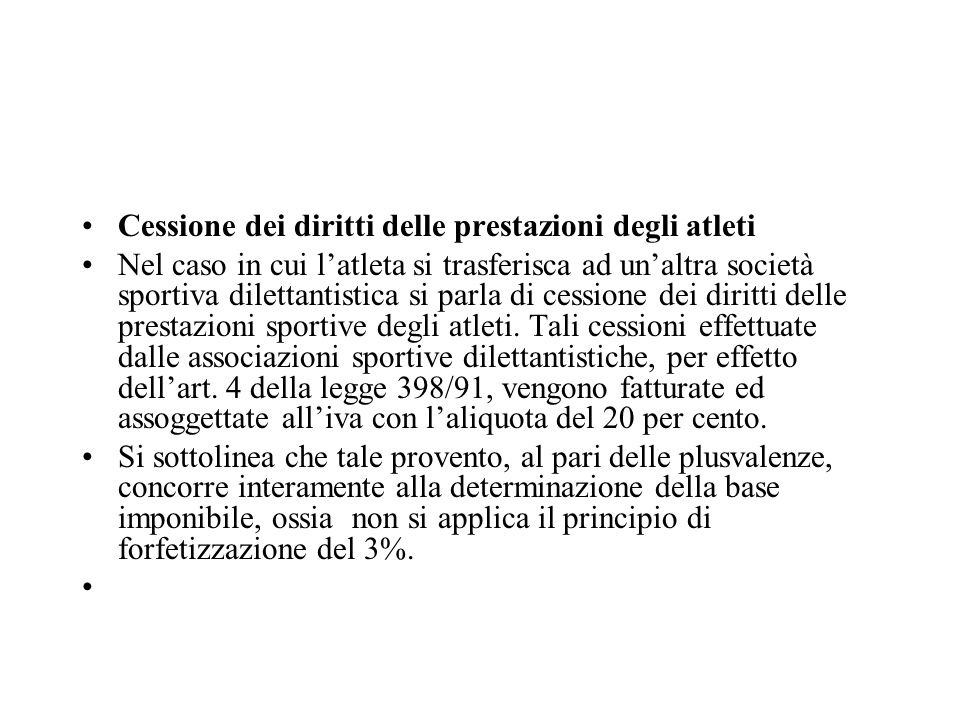 Cessione dei diritti delle prestazioni degli atleti
