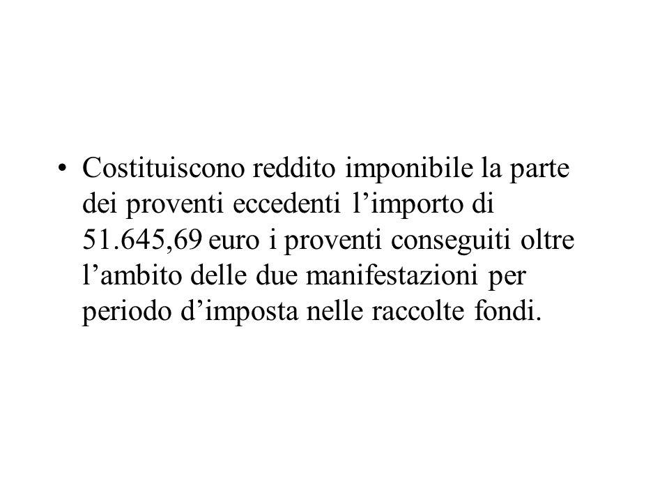 Costituiscono reddito imponibile la parte dei proventi eccedenti l'importo di 51.645,69 euro i proventi conseguiti oltre l'ambito delle due manifestazioni per periodo d'imposta nelle raccolte fondi.