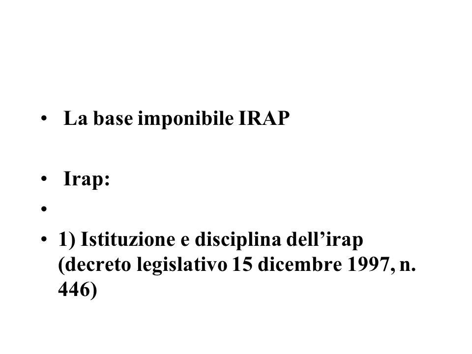 La base imponibile IRAP