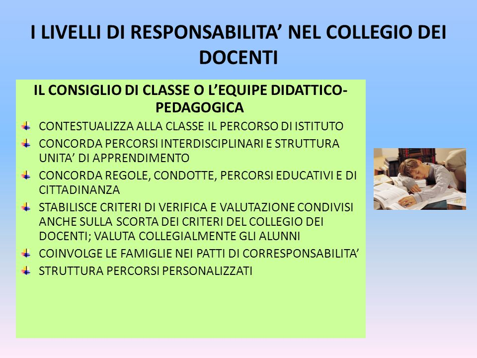I LIVELLI DI RESPONSABILITA' NEL COLLEGIO DEI DOCENTI