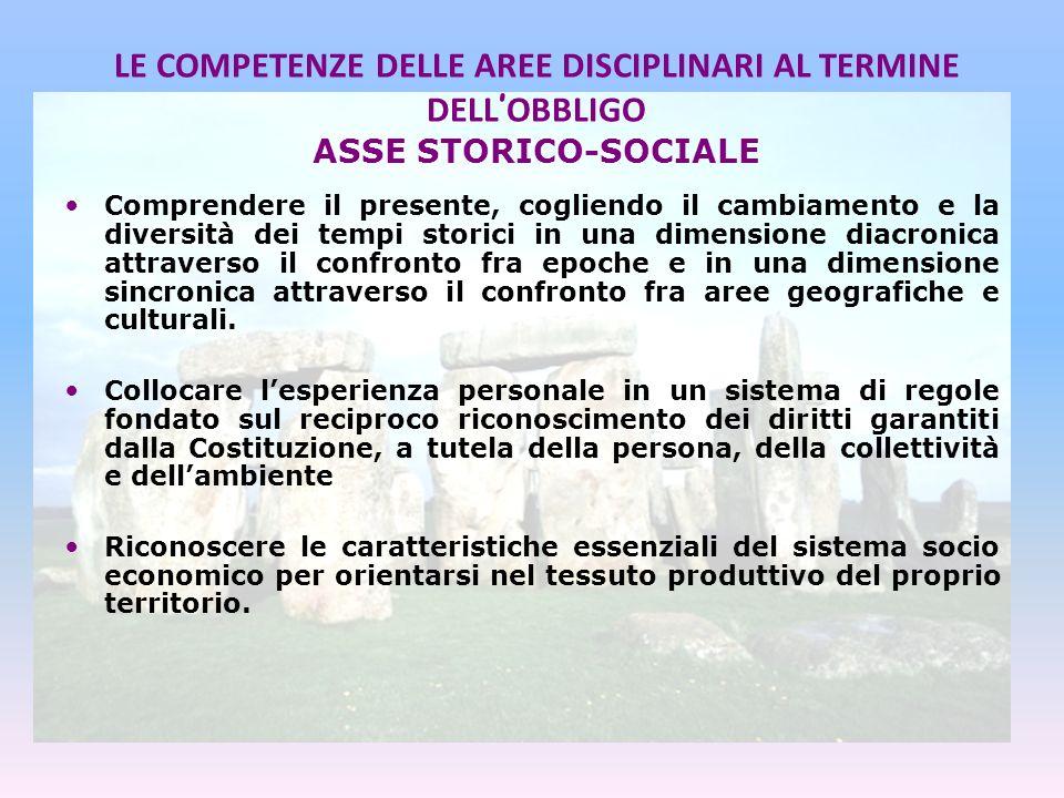 LE COMPETENZE DELLE AREE DISCIPLINARI AL TERMINE DELL'OBBLIGO ASSE STORICO-SOCIALE