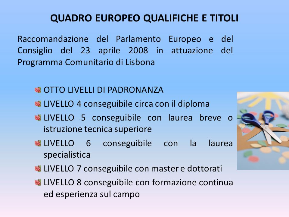 QUADRO EUROPEO QUALIFICHE E TITOLI