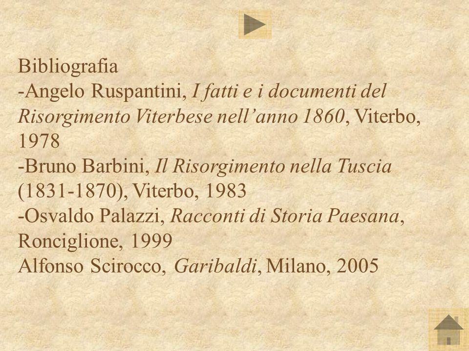 Bibliografia -Angelo Ruspantini, I fatti e i documenti del Risorgimento Viterbese nell'anno 1860, Viterbo, 1978.