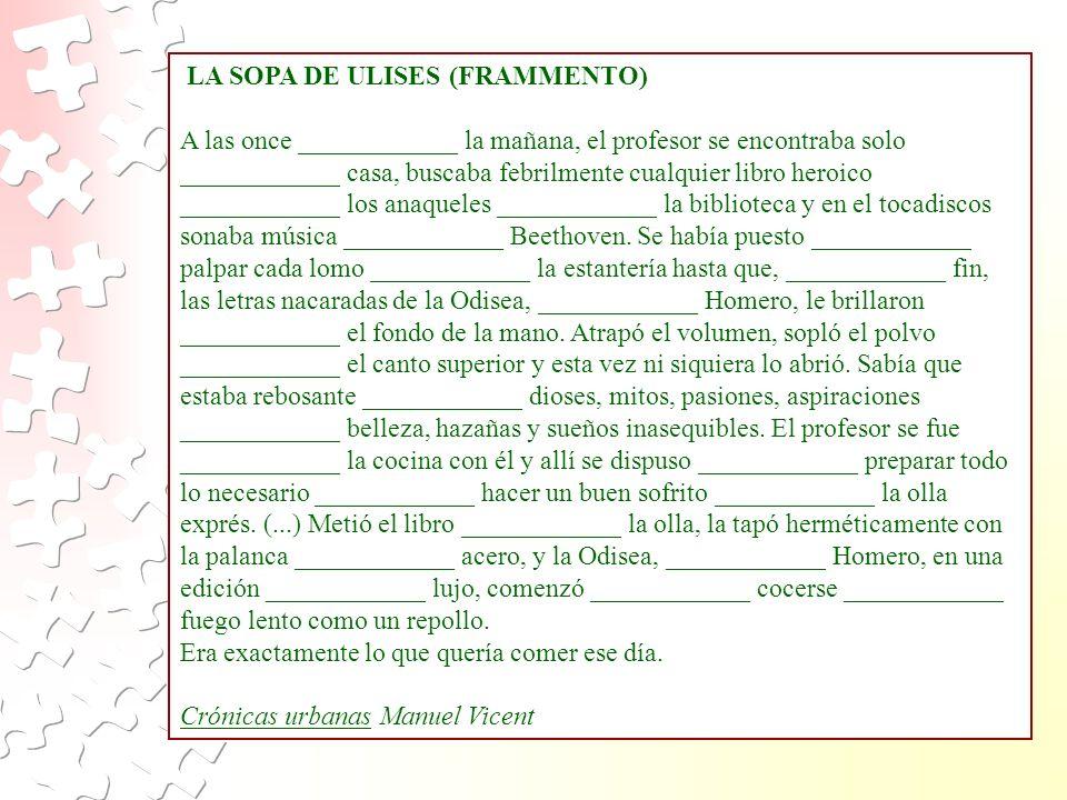 LA SOPA DE ULISES (FRAMMENTO)