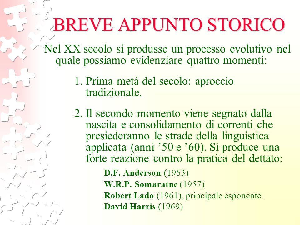 BREVE APPUNTO STORICO Nel XX secolo si produsse un processo evolutivo nel quale possiamo evidenziare quattro momenti: