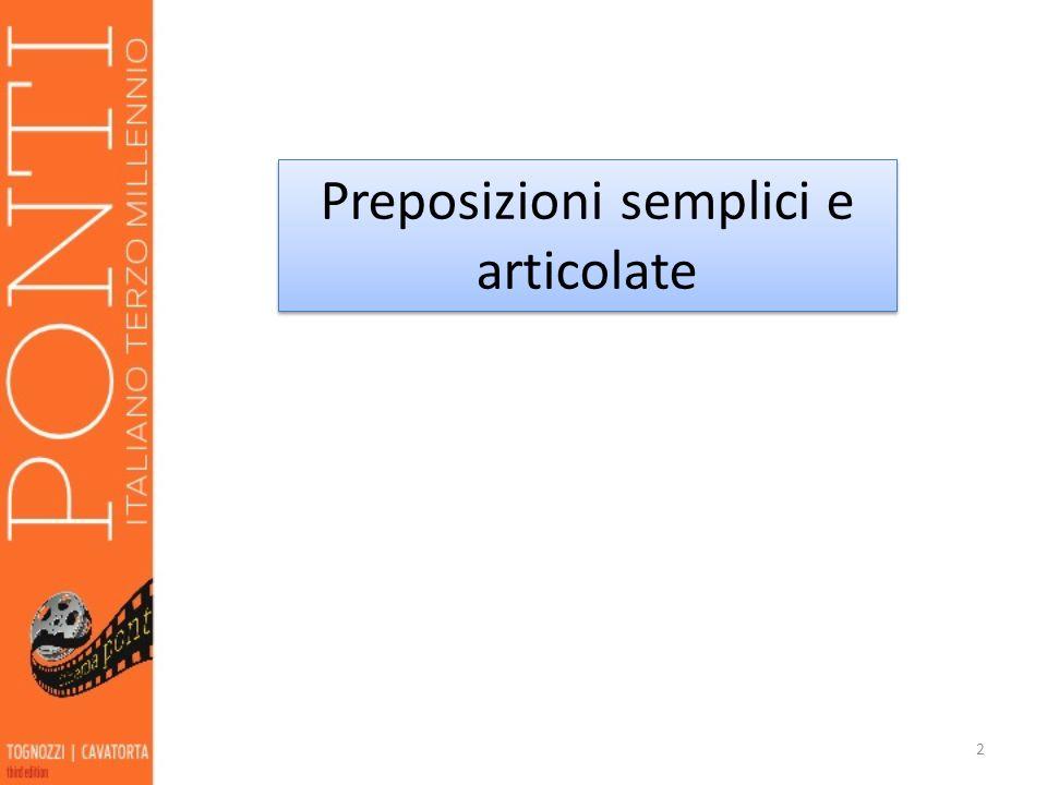 Preposizioni semplici e articolate