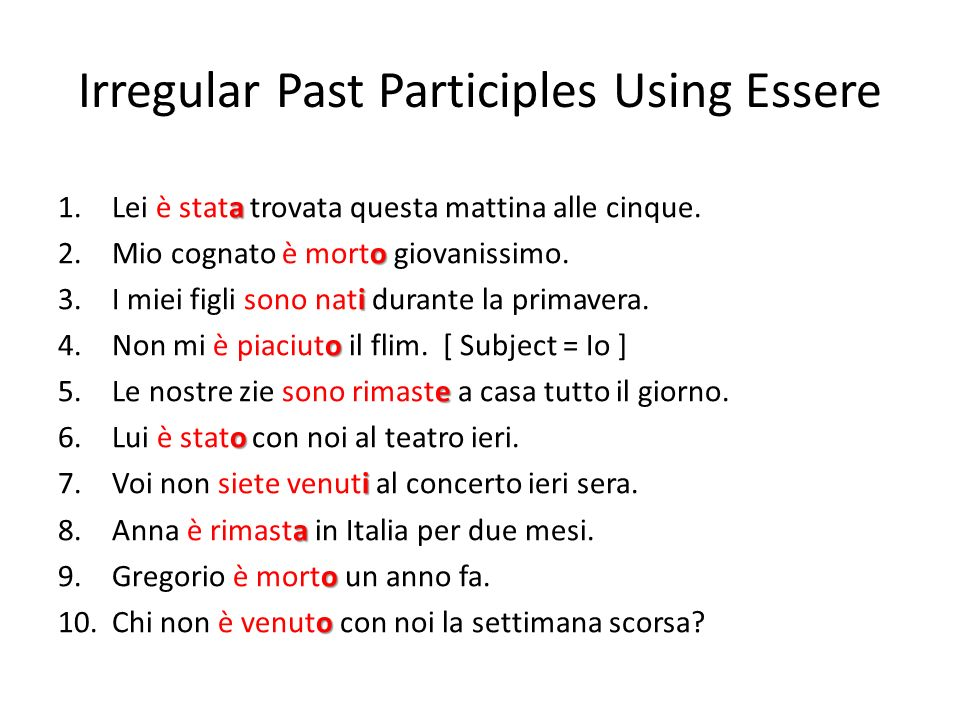 Irregular Past Participles Using Essere
