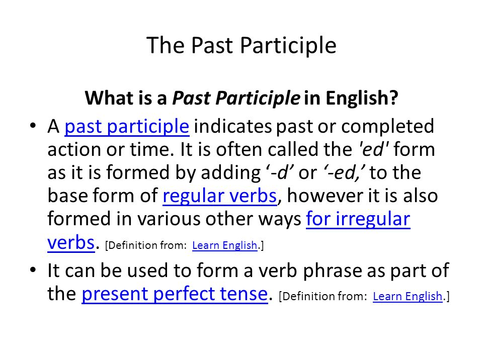 What is a Past Participle in English