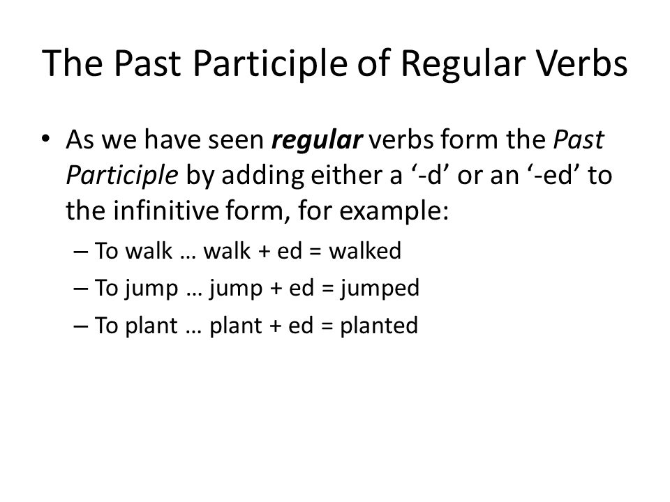 The Past Participle of Regular Verbs
