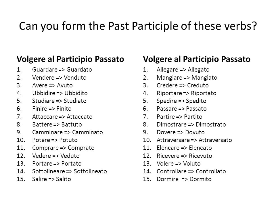 Can you form the Past Participle of these verbs