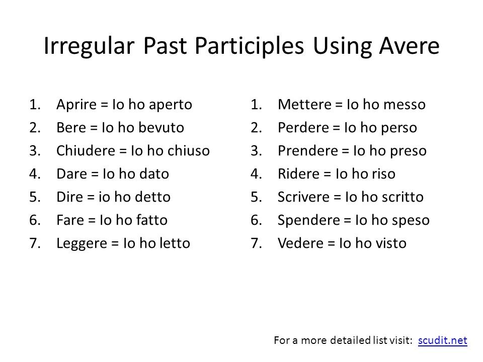 Irregular Past Participles Using Avere