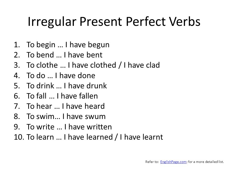 Irregular Present Perfect Verbs