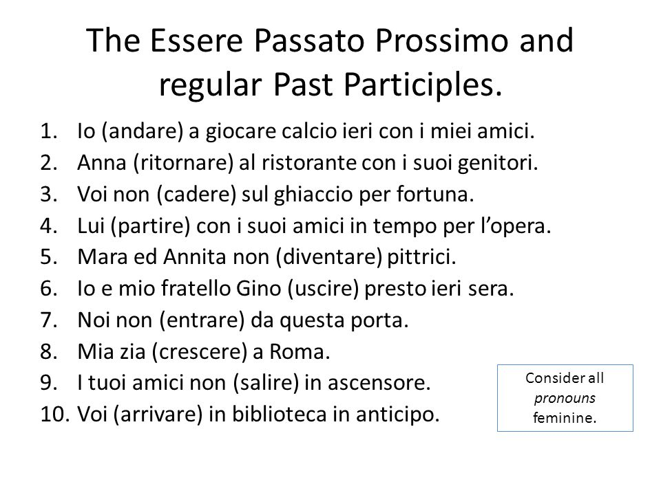 The Essere Passato Prossimo and regular Past Participles.
