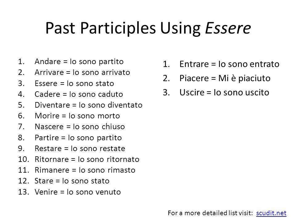 Past Participles Using Essere