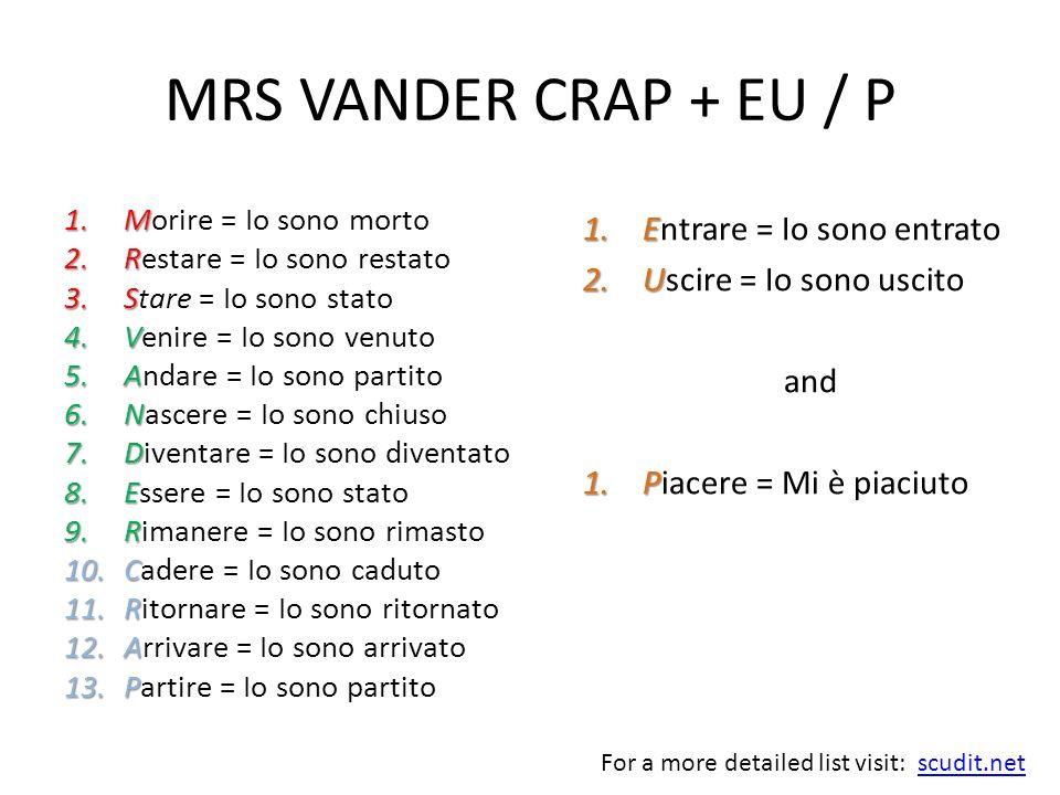 MRS VANDER CRAP + EU / P Entrare = Io sono entrato