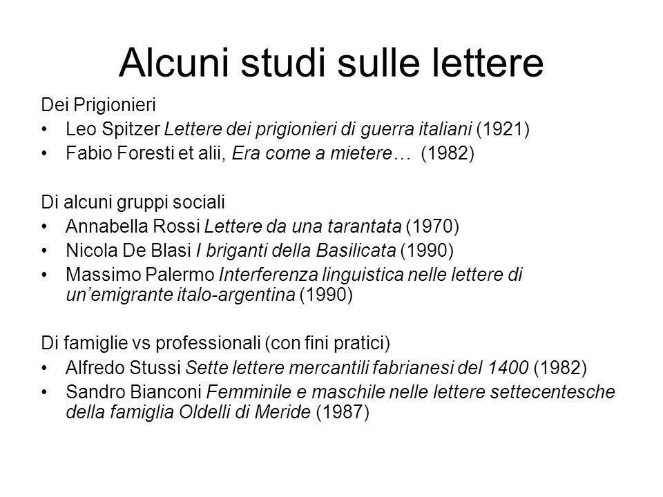Alcuni studi sulle lettere
