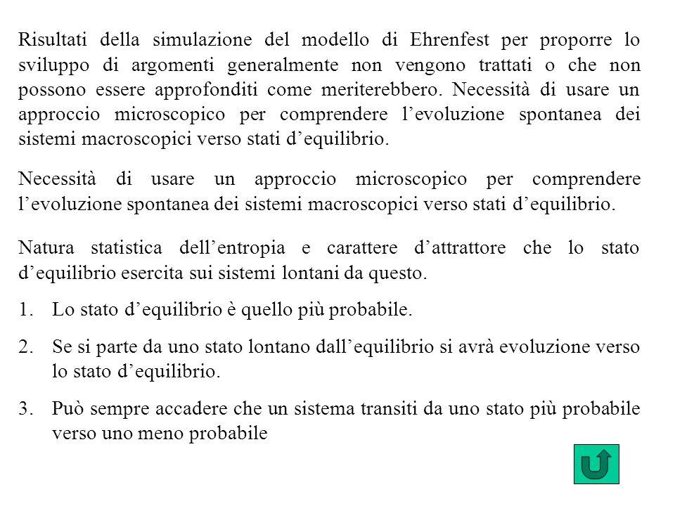 Risultati della simulazione del modello di Ehrenfest per proporre lo sviluppo di argomenti generalmente non vengono trattati o che non possono essere approfonditi come meriterebbero. Necessità di usare un approccio microscopico per comprendere l'evoluzione spontanea dei sistemi macroscopici verso stati d'equilibrio.