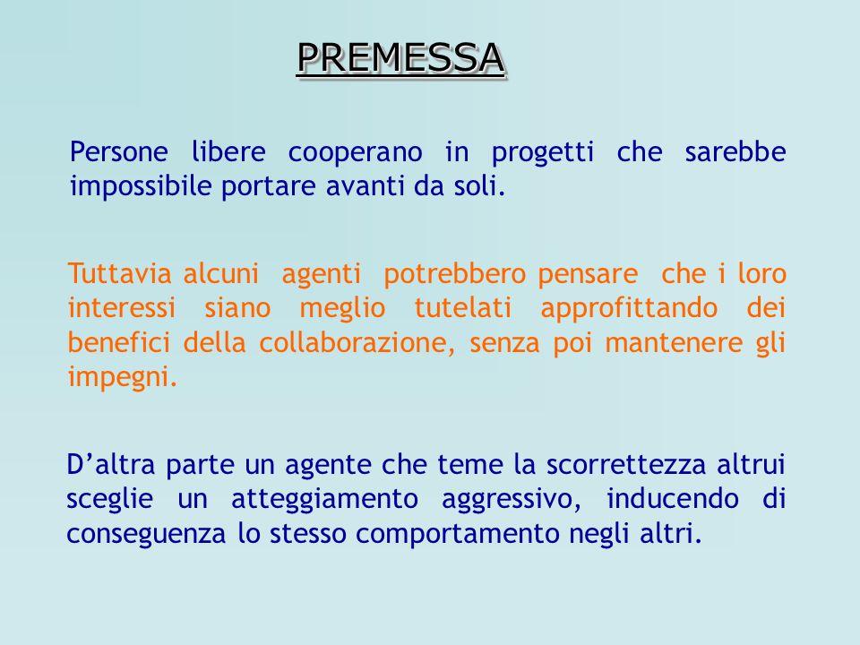 PREMESSA Persone libere cooperano in progetti che sarebbe impossibile portare avanti da soli.