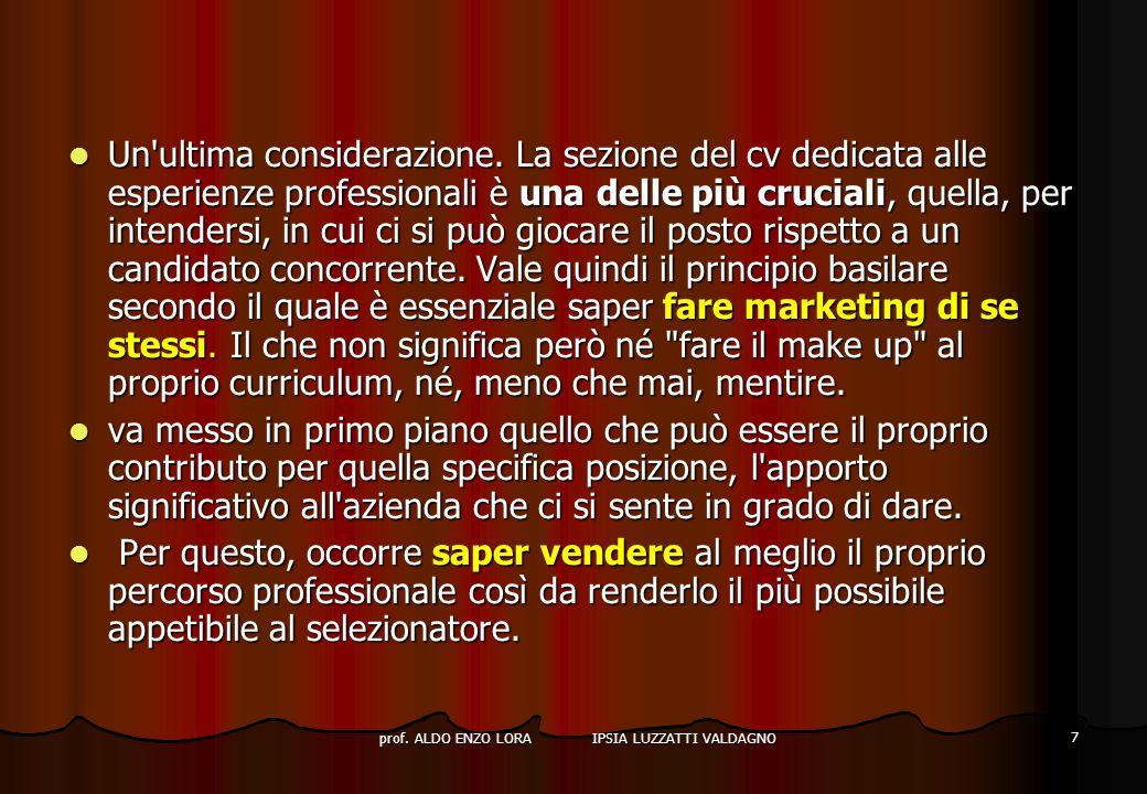 prof. ALDO ENZO LORA IPSIA LUZZATTI VALDAGNO