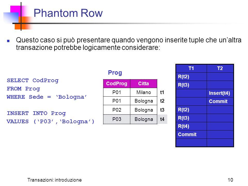 Phantom Row Questo caso si può presentare quando vengono inserite tuple che un'altra transazione potrebbe logicamente considerare: