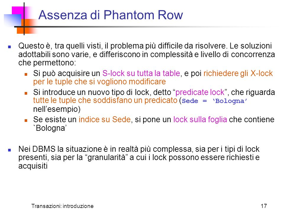 Assenza di Phantom Row