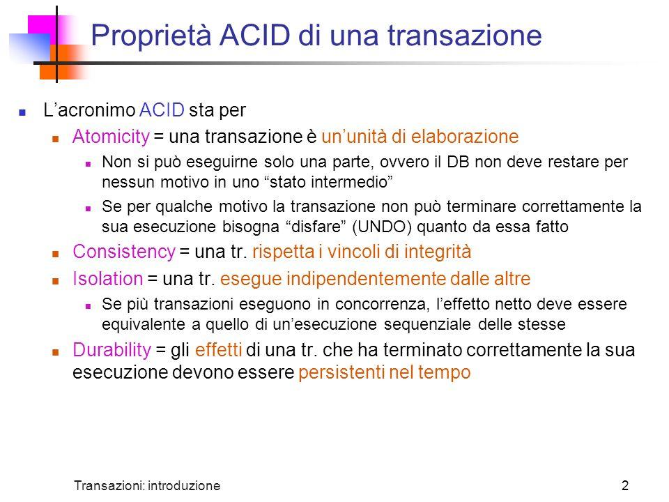 Proprietà ACID di una transazione