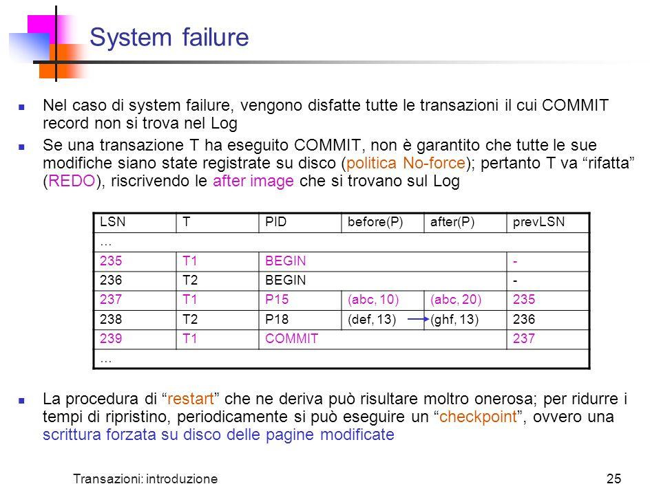 System failure Nel caso di system failure, vengono disfatte tutte le transazioni il cui COMMIT record non si trova nel Log.