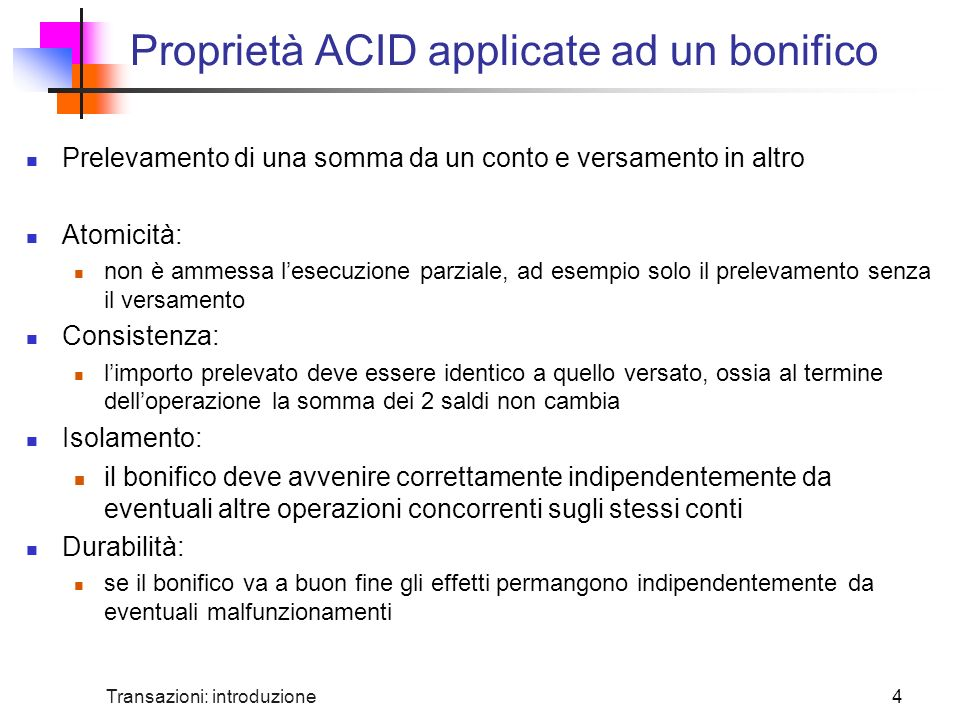Proprietà ACID applicate ad un bonifico