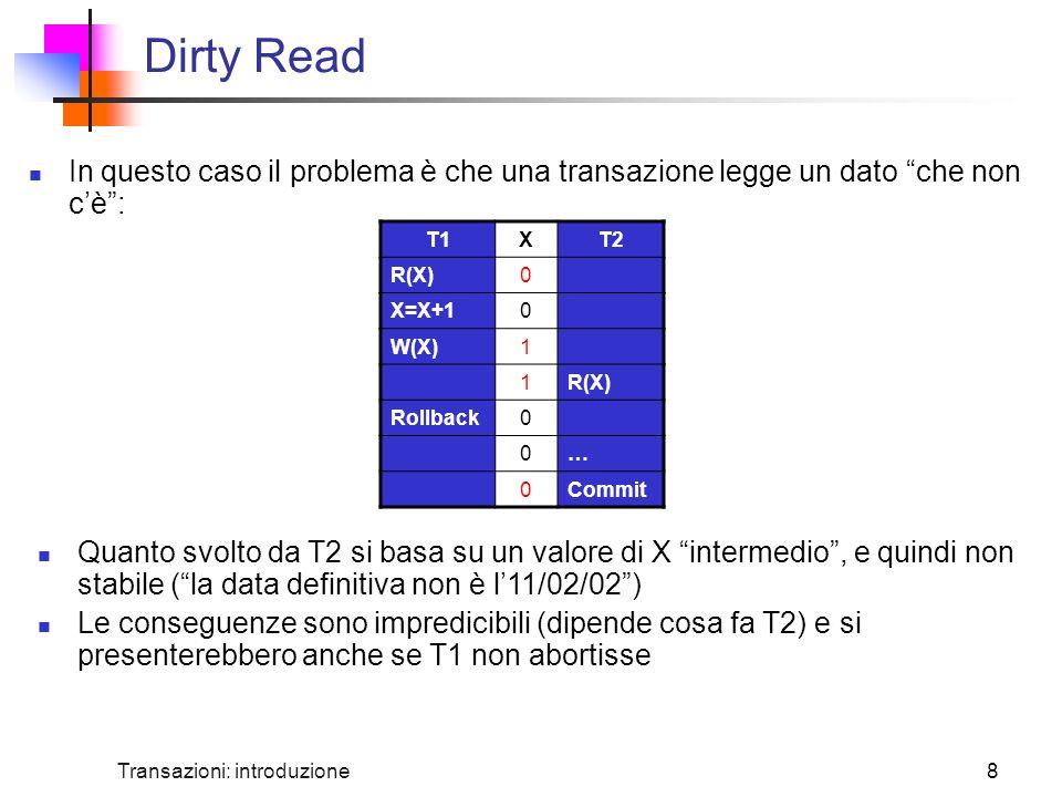 Dirty Read In questo caso il problema è che una transazione legge un dato che non c'è : T1. X. T2.