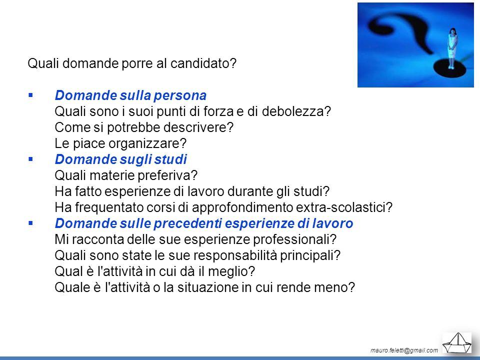 Quali domande porre al candidato