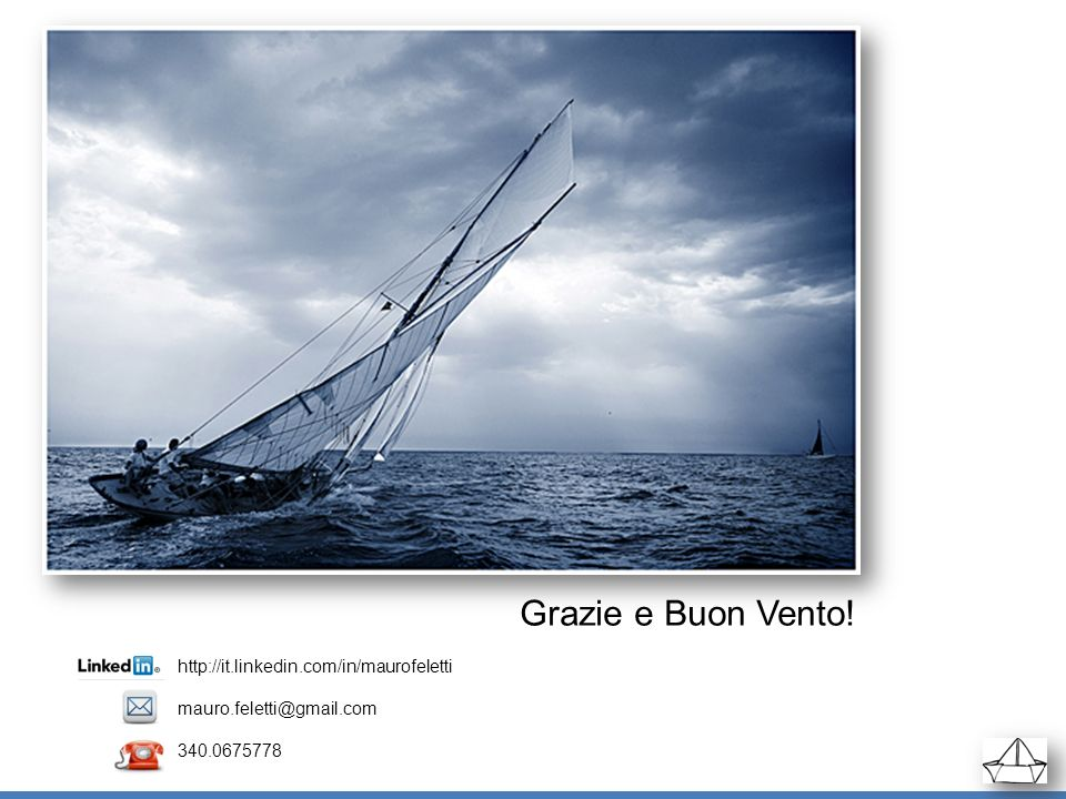 Grazie e Buon Vento! http://it.linkedin.com/in/maurofeletti