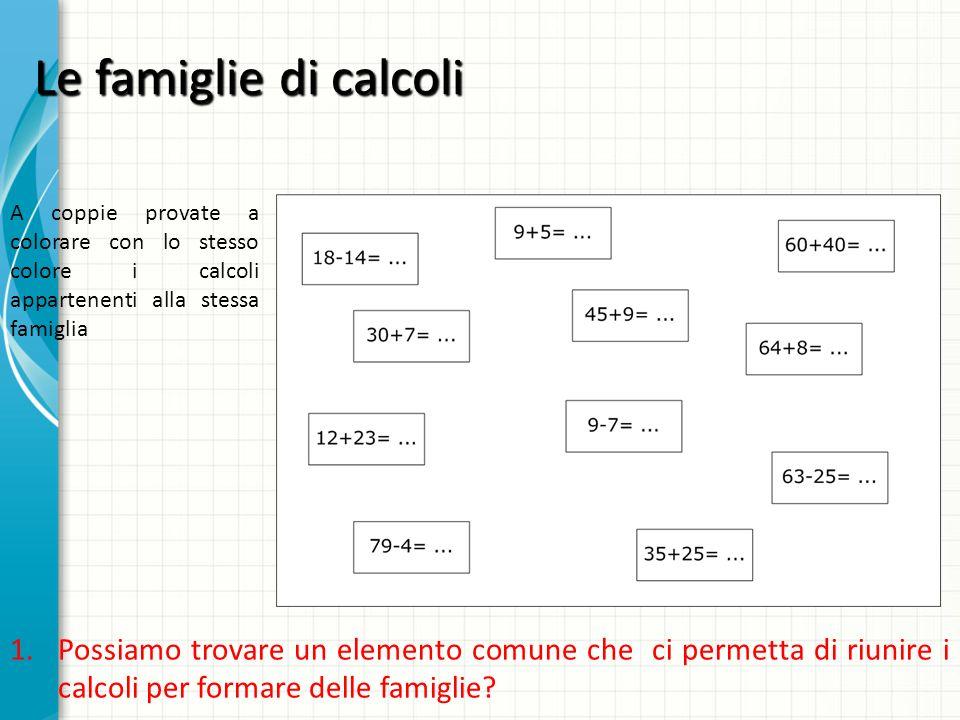 Le famiglie di calcoli A coppie provate a colorare con lo stesso colore i calcoli appartenenti alla stessa famiglia.
