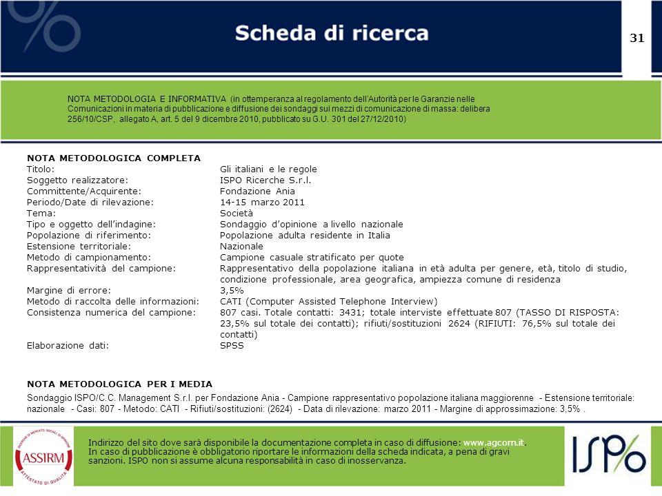 31 NOTA METODOLOGICA COMPLETA Titolo: Gli italiani e le regole