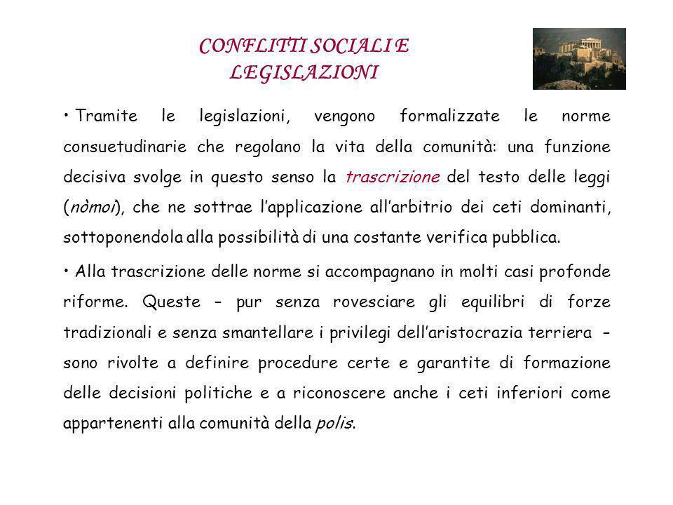 CONFLITTI SOCIALI E LEGISLAZIONI