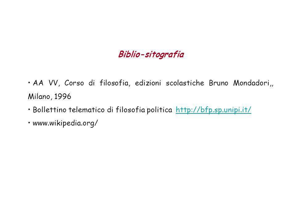 Biblio-sitografia AA VV, Corso di filosofia, edizioni scolastiche Bruno Mondadori,, Milano, 1996.