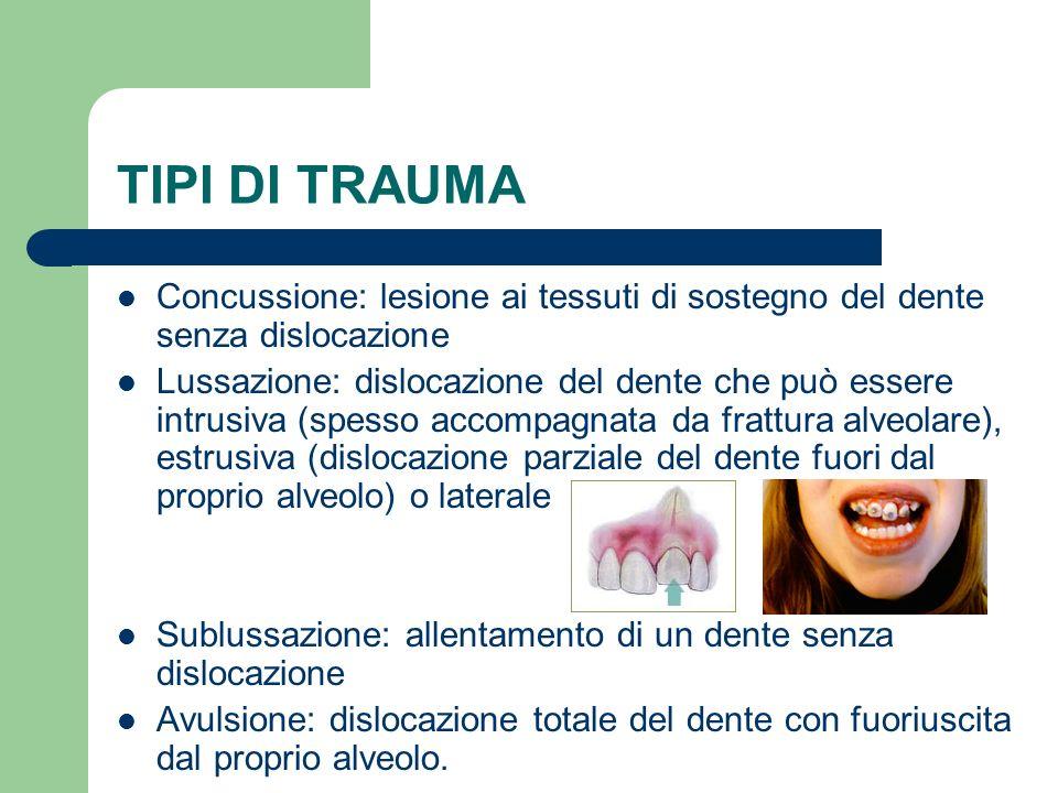 TIPI DI TRAUMA Concussione: lesione ai tessuti di sostegno del dente senza dislocazione.