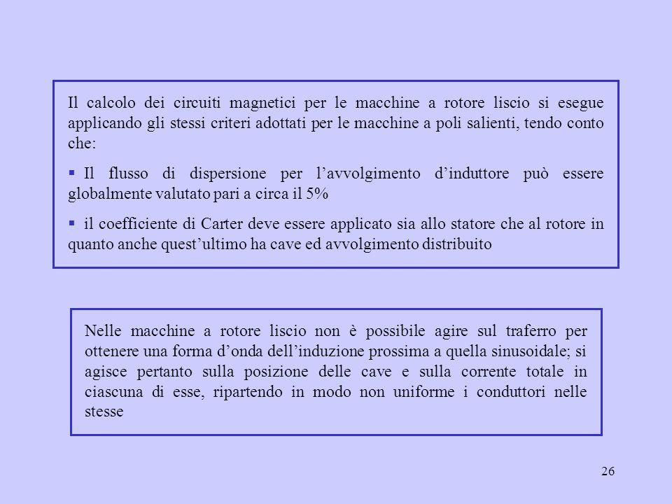 Il calcolo dei circuiti magnetici per le macchine a rotore liscio si esegue applicando gli stessi criteri adottati per le macchine a poli salienti, tendo conto che: