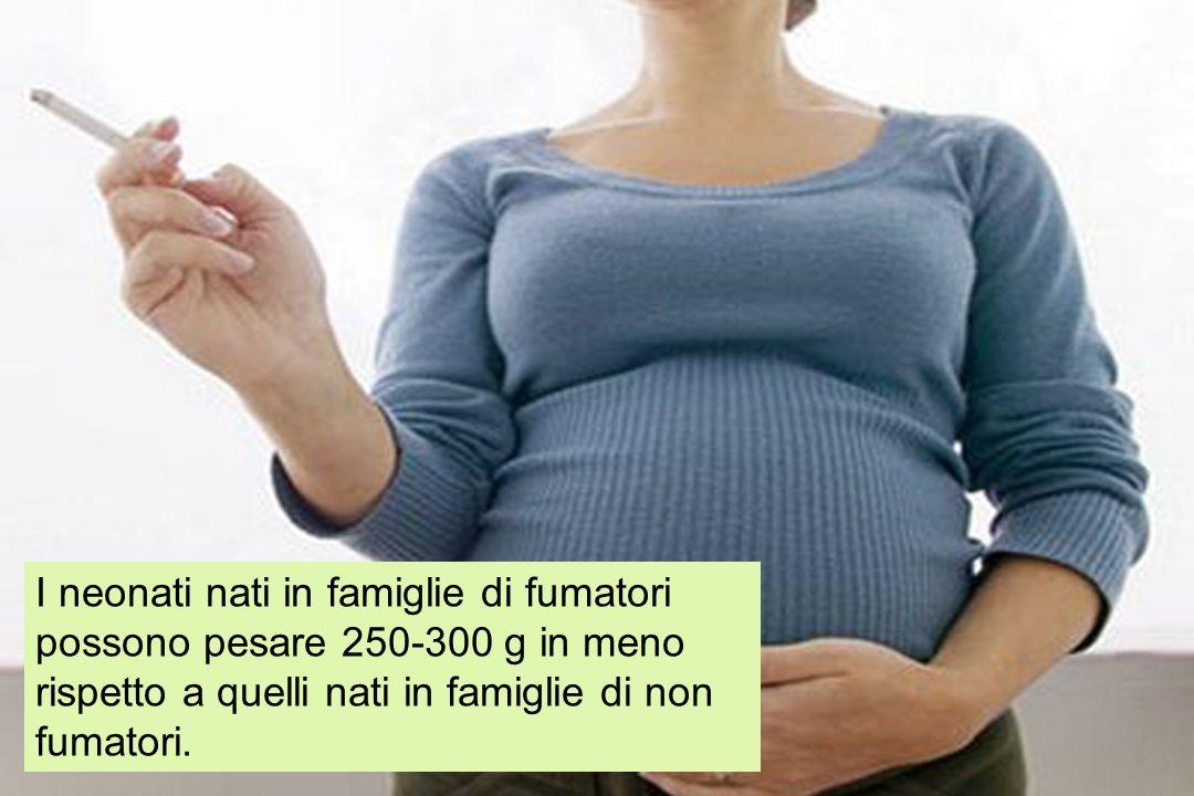 I neonati nati in famiglie di fumatori possono pesare 250-300 g in meno rispetto a quelli nati in famiglie di non fumatori.