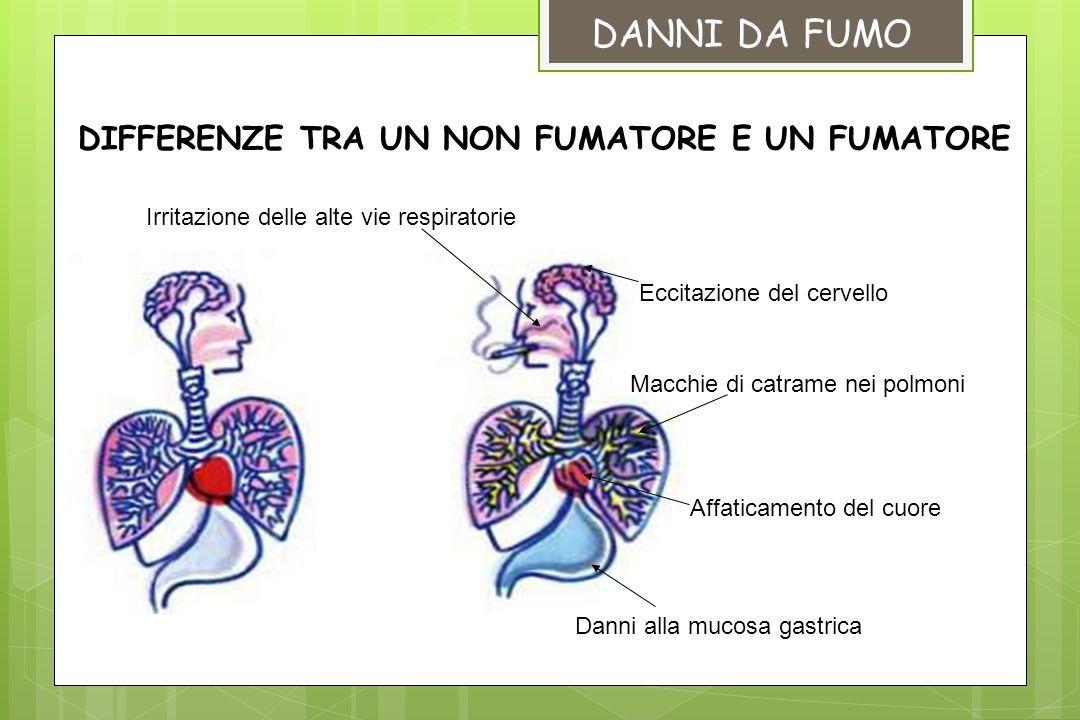 DANNI DA FUMO DIFFERENZE TRA UN NON FUMATORE E UN FUMATORE