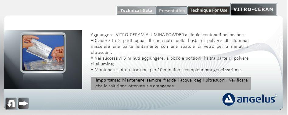 Aggiungere VITRO-CERAM ALUMINA POWDER ai liquidi contenuti nel becher: