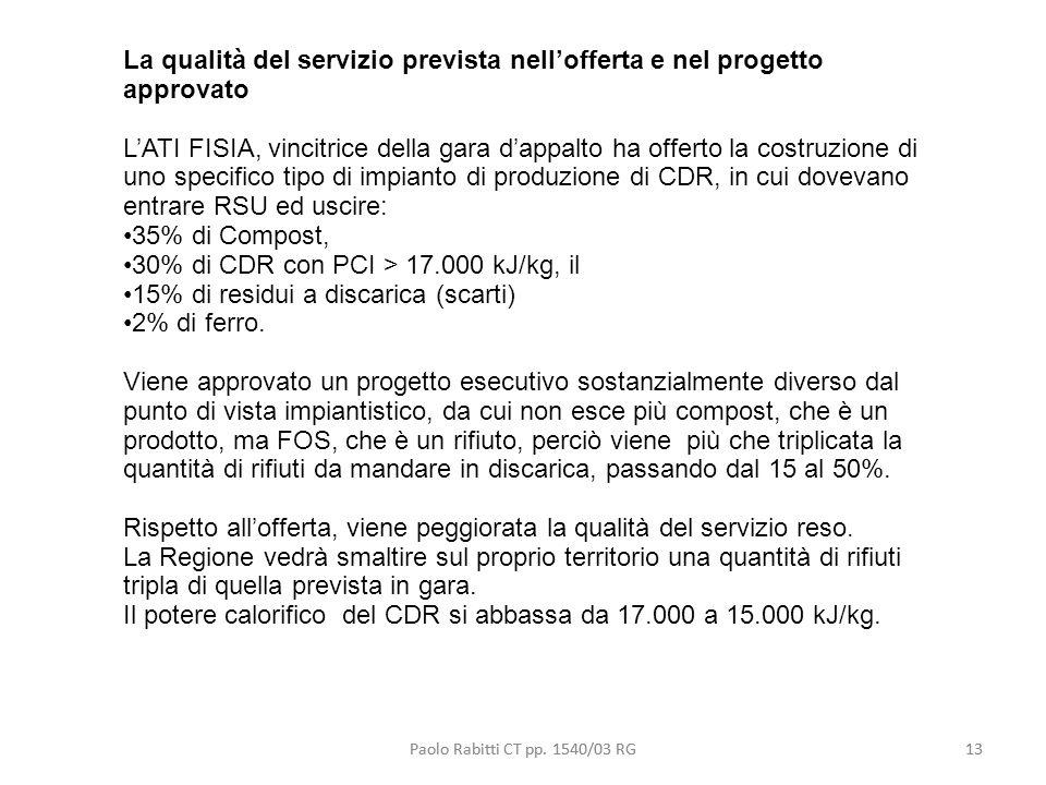 La qualità del servizio prevista nell'offerta e nel progetto approvato
