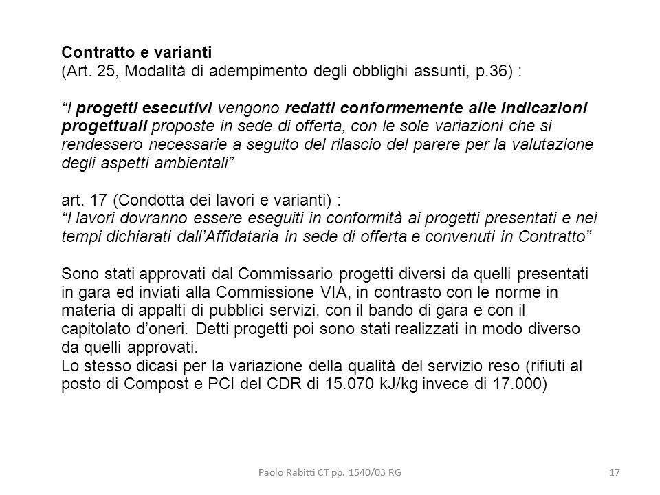 (Art. 25, Modalità di adempimento degli obblighi assunti, p.36) :