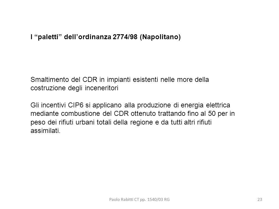 I paletti dell'ordinanza 2774/98 (Napolitano)