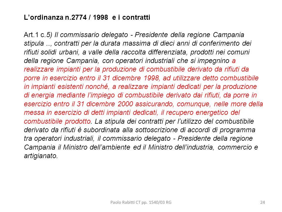 L'ordinanza n.2774 / 1998 e i contratti